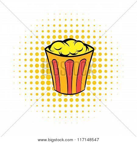 Popcorn in striped bucket comics icon