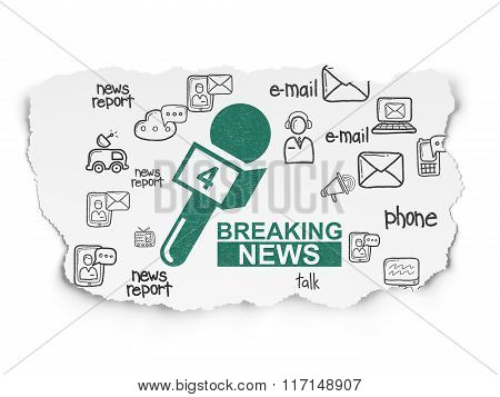 News concept: Breaking News And Microphone on Torn Paper background