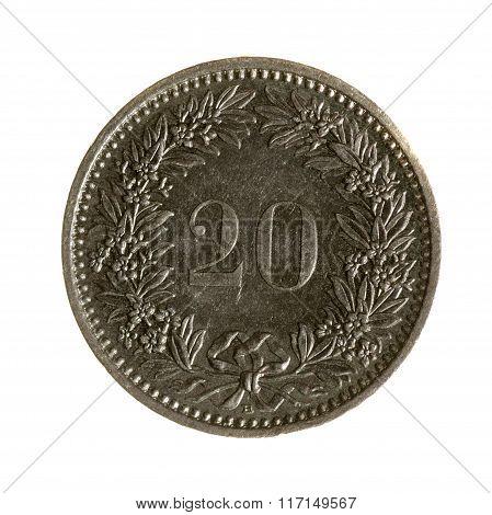 Metal Coins Twenty Rappen Switzerland Isolated On White Background