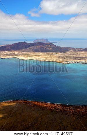 Spain   Del Rio Harbor  Stone   Beach   Yacht     Lanzarote  Graciosa