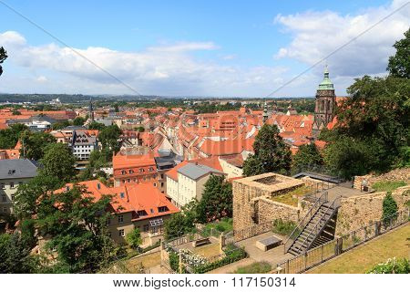 View Towards Pirna Cityscape With St. Marys Church From Sonnenstein Castle