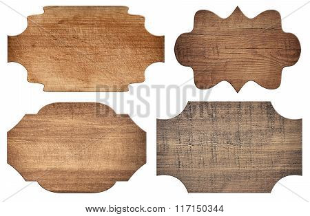Brown ornamental wooden signboard, planks are isolated on white background