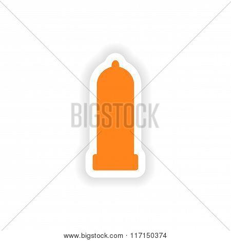 icon sticker realistic design on paper condom