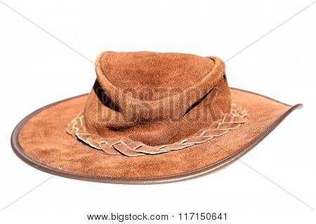 Leather Hat. Isolated on white with room for your text