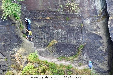 Rock Climbers At Affensteine In Saxon Switzerland
