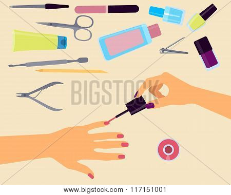 Top view of the workplace manicurist. Vector illustration