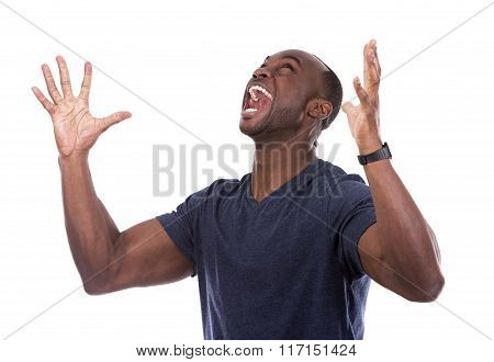 Handsome Black Man Screaming With Excitement