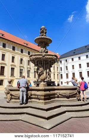Kohl's Fountain In Prague Castle With Blue Sky