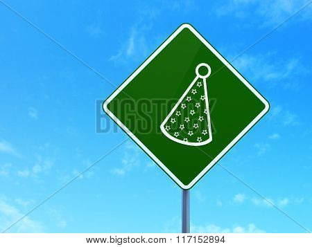 Entertainment, concept: Party Hat on road sign background