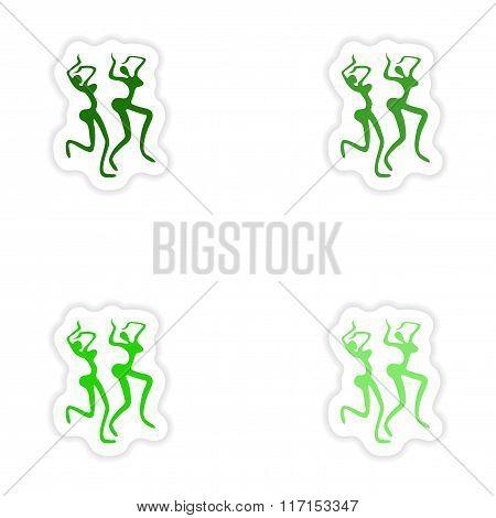 concept stylish paper sticker on white background carnival dancer