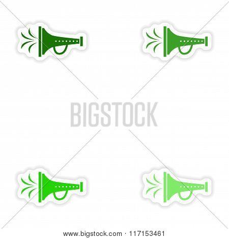 concept stylish paper sticker on white background mouthpiece
