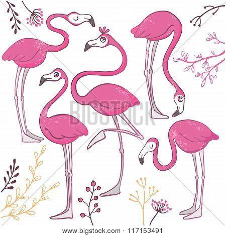 Set of funny hand drawn flamingos.