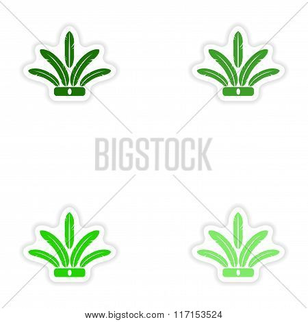 concept stylish paper sticker on white background Indian feathers