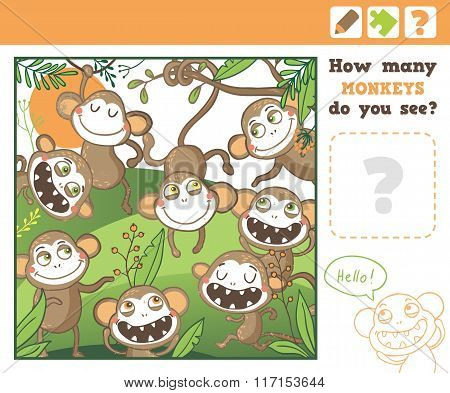 Jungle. Education Counting Game for Children.