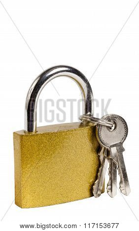 Gold Colored Padlock Isolated