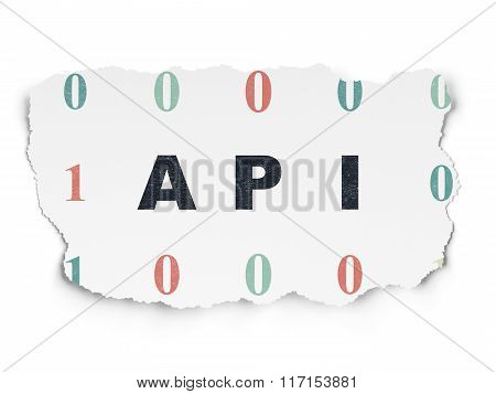 Programming concept: Api on Torn Paper background