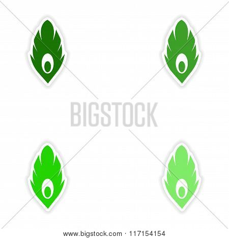 concept stylish paper sticker on white background feather