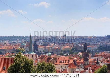 View Of Prague Cityscape With Charles Bridge In Sunshine