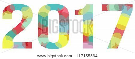 2017 Year Abstract Colorful Transparent Vector Isolated On White