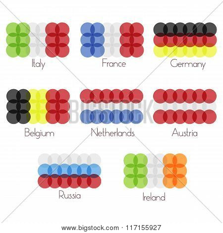 Vector Isolated Symbols Set Of Transparent Flags: Italy, Rance, Germany, Russia, Belgium, Netherland