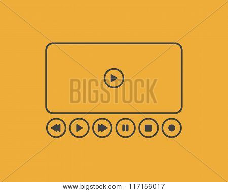 Vector Set Player Buttons. Play, Stop, Rewind, Forward, Pause, Record Grey Symbols, Isolated On Yell