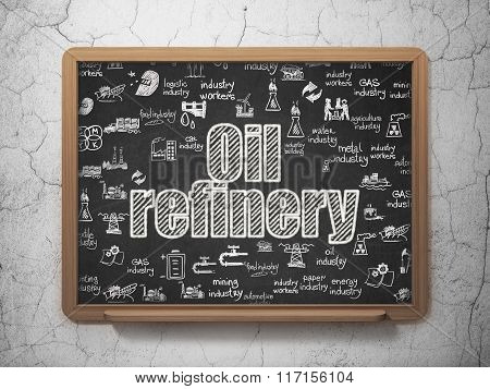 Industry concept: Oil Refinery on School Board background