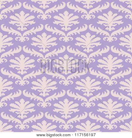 Vector Colorful Damask Seamless Floral Pattern Background. Color Trend Lavender