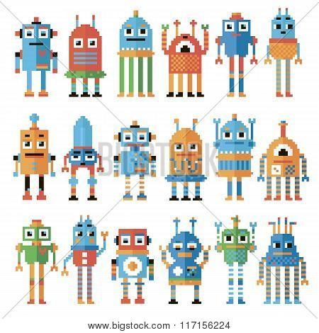 Set of pixel robots.