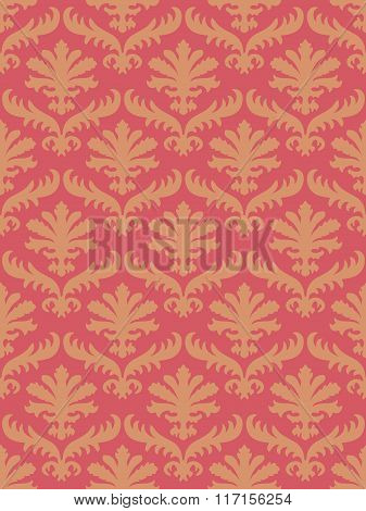 Vector Colorful Damask Seamless Floral Pattern Background. Color Trend Coral