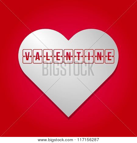 Scoreboard St. Valentine's Day White And Grey Gradientheart, Flip Valentine Isolated On Red Backgrou