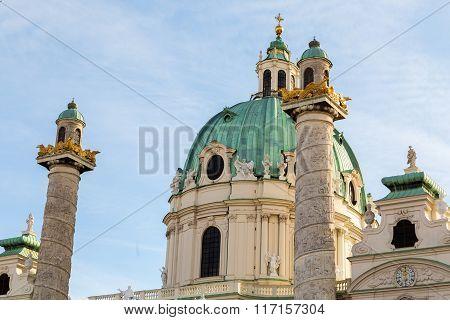 St. Charles's Church In Vienna Closeup