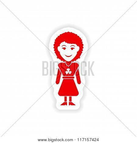 stylish paper sticker on white background Irish woman