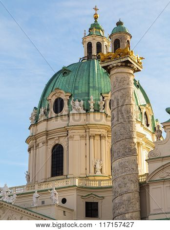 A closeup to part of St. Charles's Church (Karlskirche) in Vienna during the day