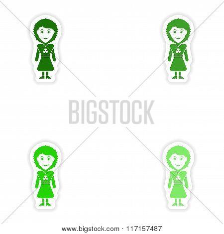 concept stylish paper sticker on white background Irish woman