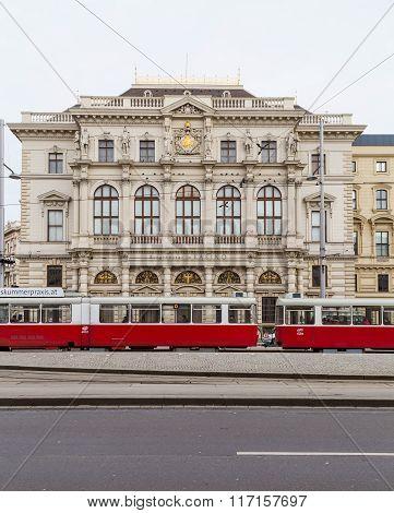 Trams And Buildings Along Scwarzenberglatz In Vienna
