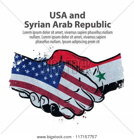 handshake. United States and Syria. vector illustration