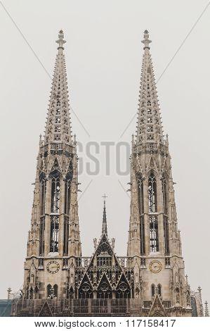 Votive Church In Vienna In The Winter