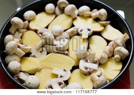 Mushrooms With Potatoes Ready For Grill