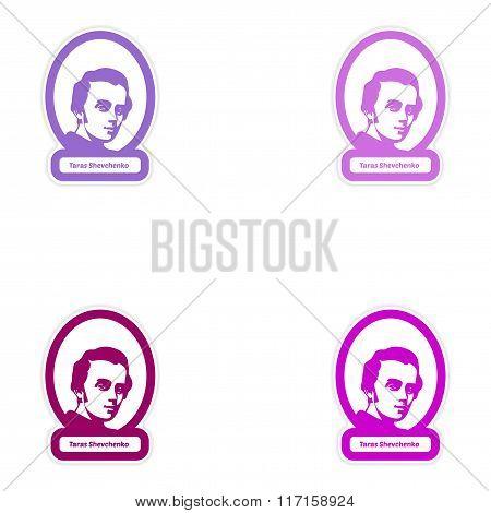 Set of paper stickers on white background Taras Shevchenko