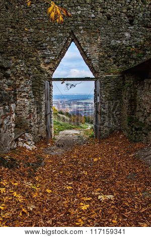 The Entrance To The Castle Castle In Autumn Ruins At Fall Fallen Leaves Before Enterance To The Cast