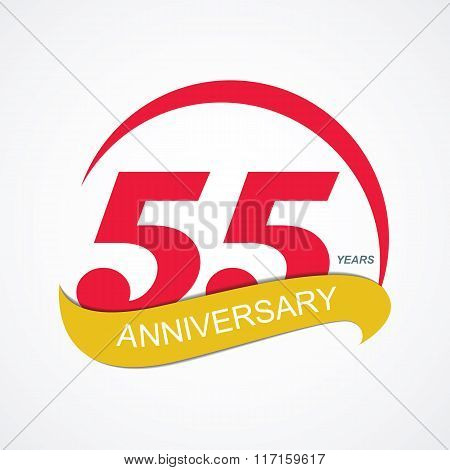 Template Logo 55 Anniversary Vector Illustration