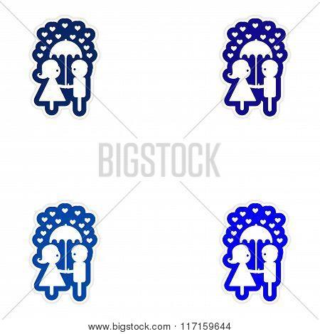Set of paper stickers on white background boy girl umbrella