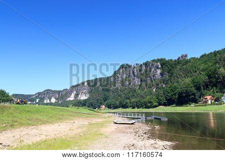 Bastei Rock Formation And River Elbe In Rathen, Saxon Switzerland