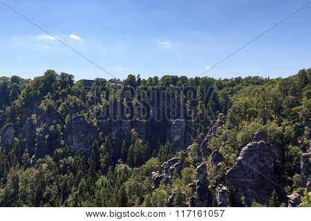 Panorama With Rocks Bastei And Hotel On Mountain In Rathen, Saxon Switzerland