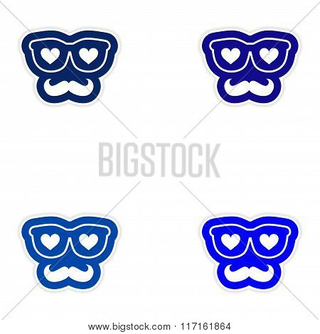 Set of paper stickers on white background mustache heart