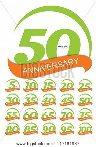 Template Logo Anniversary Set Vector Illustration