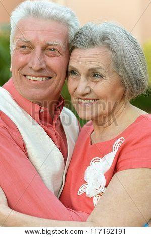 Senior couple near hotel resort