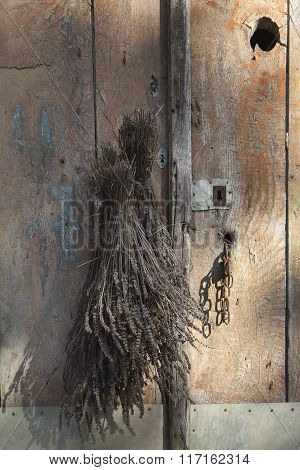 Dried lavender on door