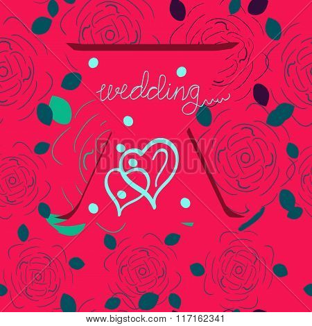 Wedding graphic INVITATION. Vector illustration. Rose pattern.
