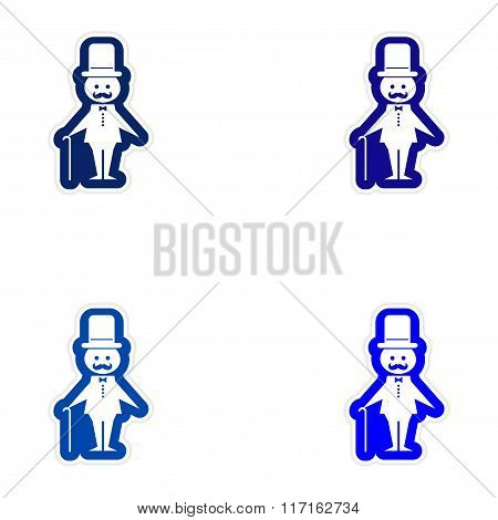 Set of paper stickers on white background father bride